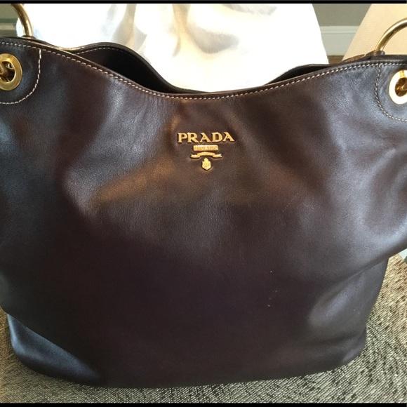 Handbags - Prada Tobacco Leather Hobo Bag